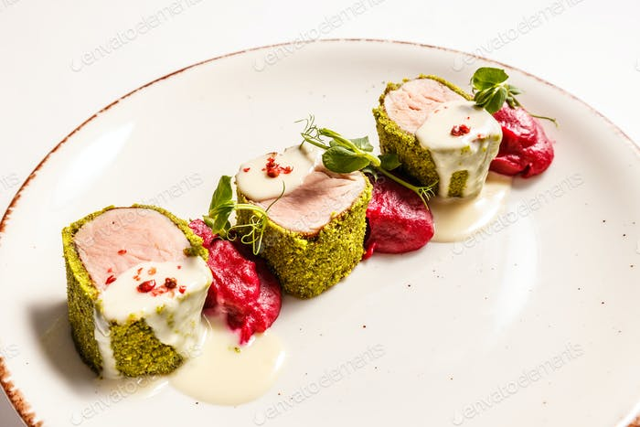 Green crusted pork loin