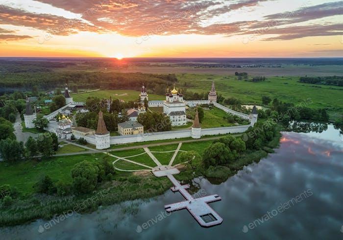 Aerial view on Joseph-Volokolamsk Monastery on sunset