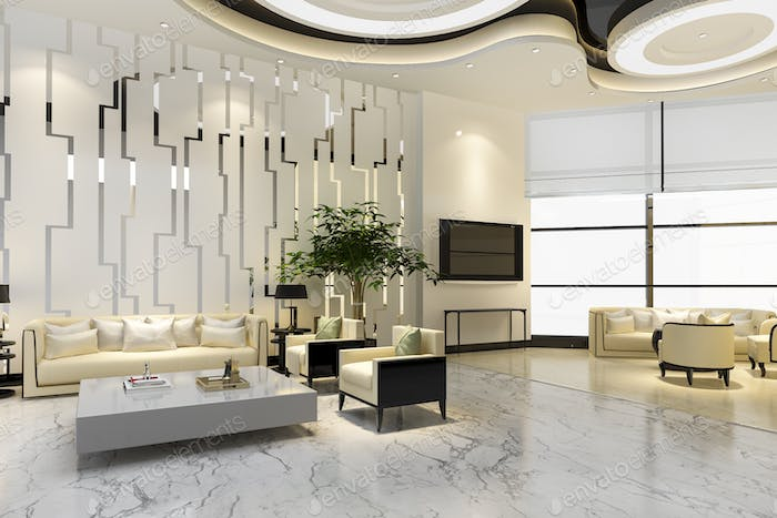 3d rendering luxury hotel and office reception hall and lounge restaurant