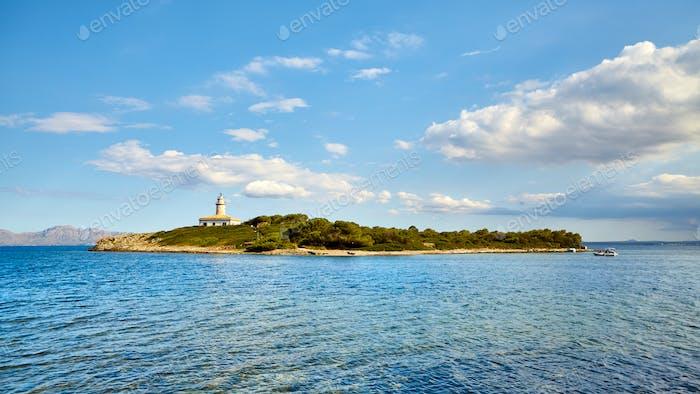 Island with Alcanada Lighthouse, Mallorca.