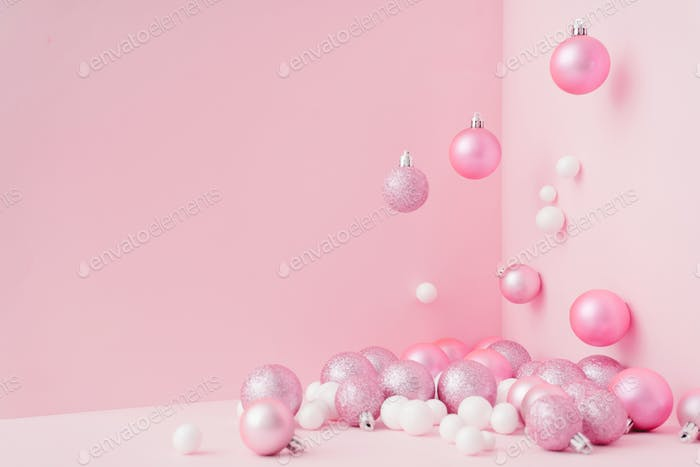 Creative Christmas design pink pastel color background. New Year concept.