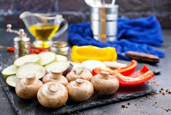 mushrooms with vegetables on board