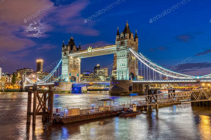 The illuminated Tower Bridge in London, UK