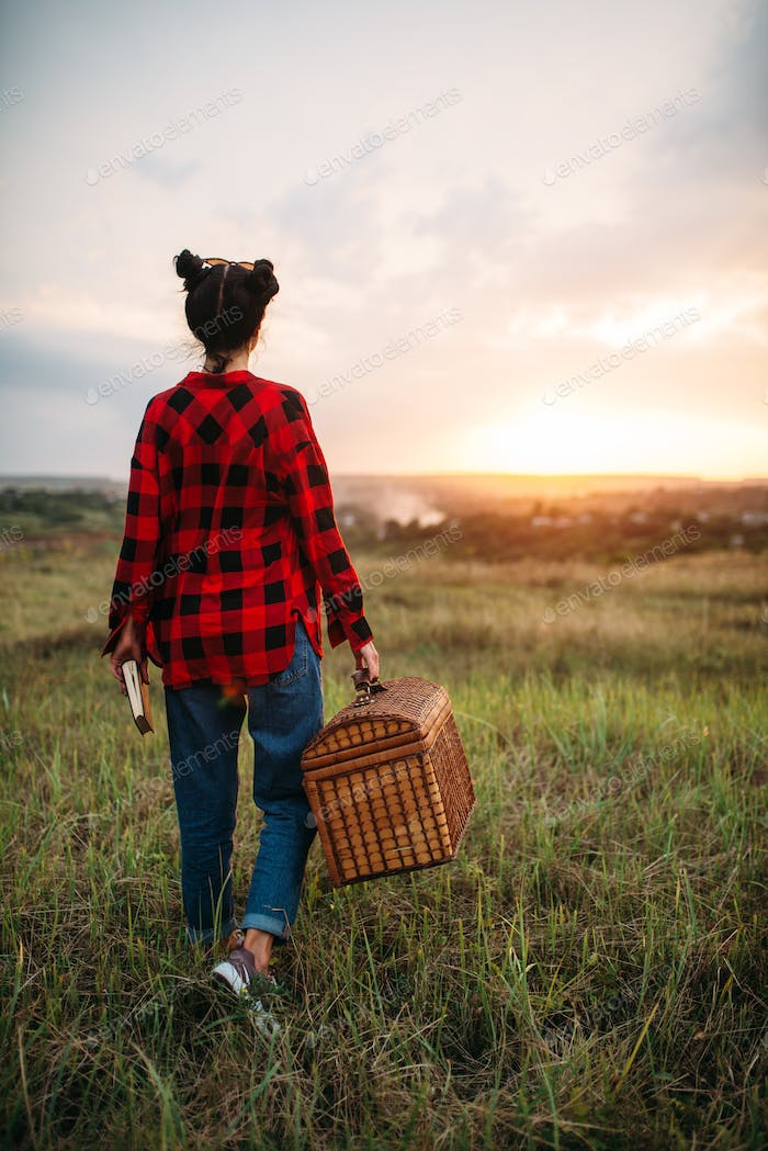 Pretty woman with basket, picnic in summer field