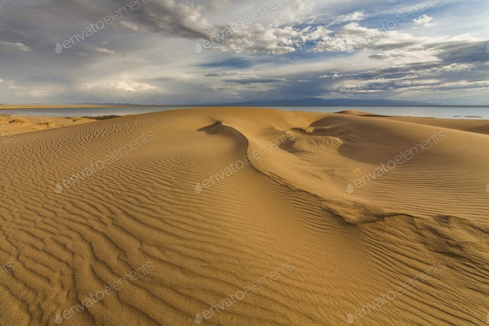 Beautiful views of the desert landscape. Gobi Desert. Mongolia.