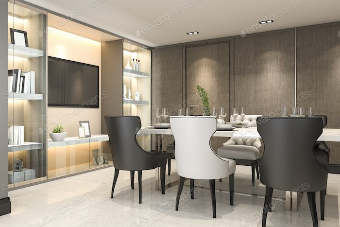 3d rendering dining set in modern luxury brown dining room