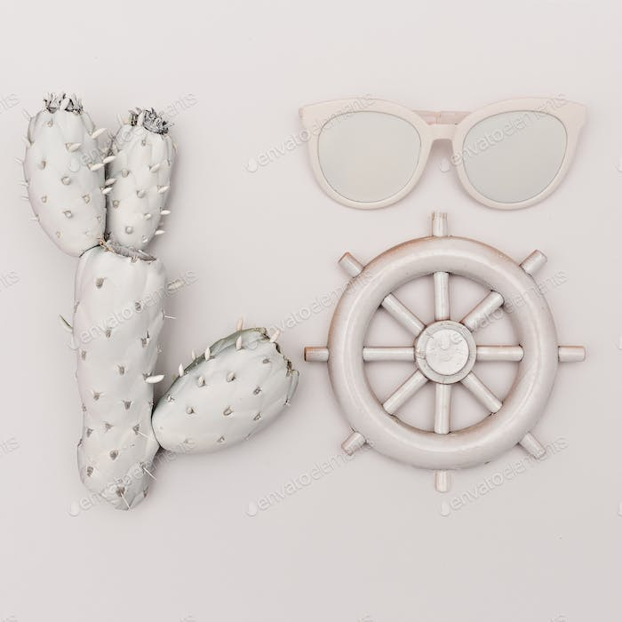 Marine set. Cactus, glasses, helm. White paint. Minimal