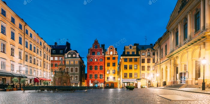 Stockholm, Sweden. Famous Old Colorful Houses, Swedish Academy and Nobel Museum In Old Square