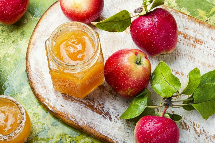 Apple jam and fresh fruits