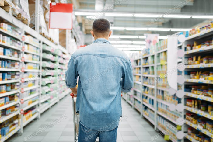 Man with cart in supermarket, back view