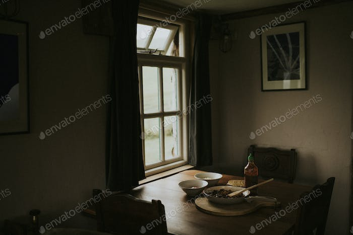 Food on the wooden tabel by the window