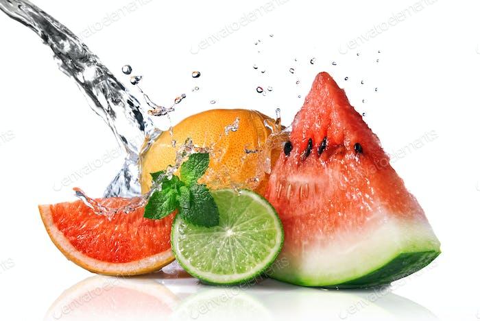 Thumbnail for Water splash on fresh fruits isolated on white