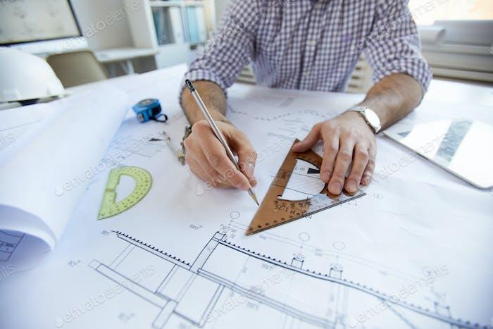 Engineer Zeichnungspläne Nahaufnahme