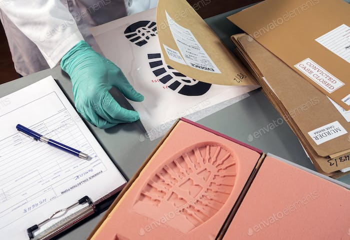 Forensic scientist investigates shoeprint mould evidence in crime lab, conceptual image