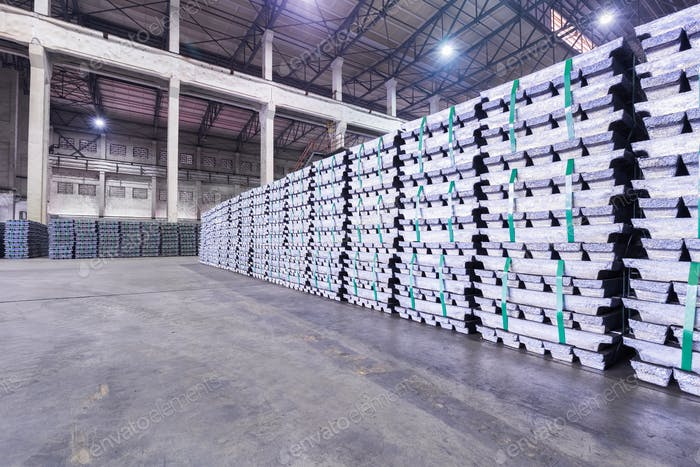 lead ingots in a factory warehouse