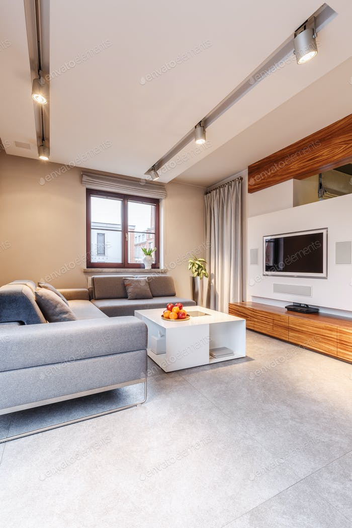 Дизайн интерьера просторной гостиной