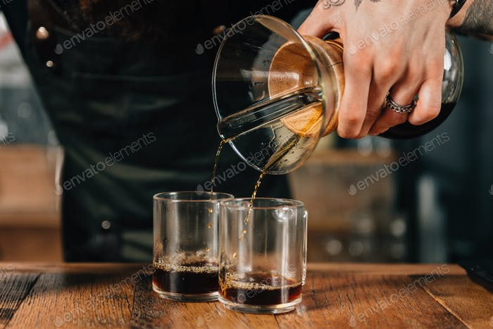 Barista Pouring Chemex Coffee