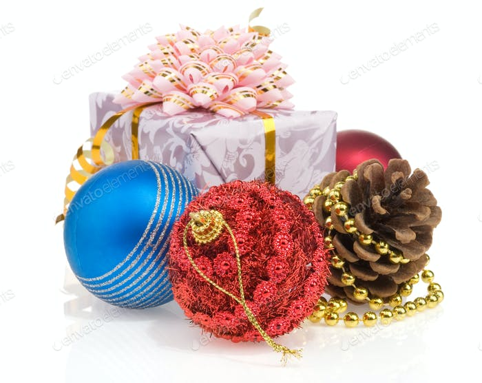 christmas gift box with balls isolated on white