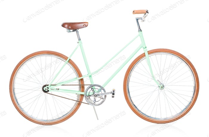 Stylish green female bike with brown wheels on white