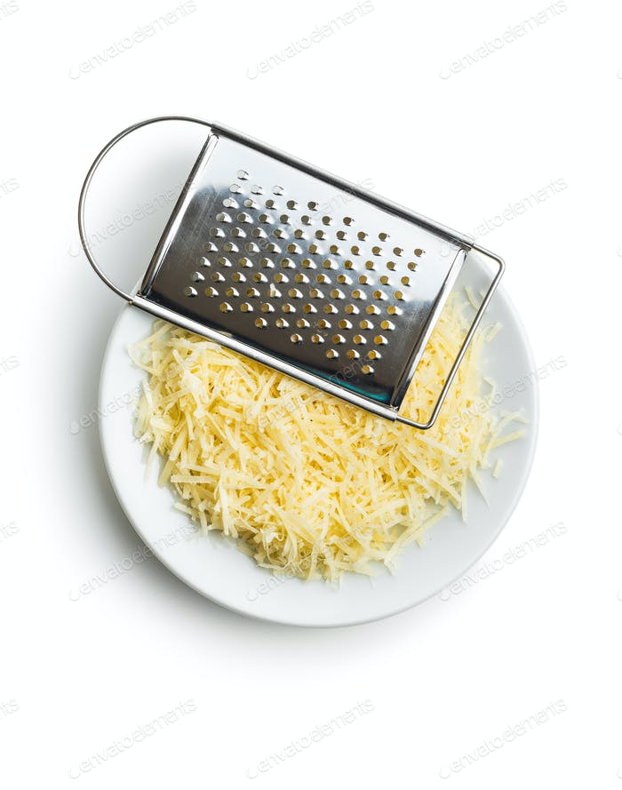 Tasty grated cheese. Parmesan cheese.