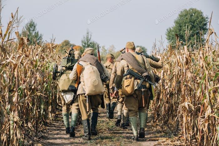 Reenactors Men Dressed As Russian Soviet Red Army Infantry Soldi