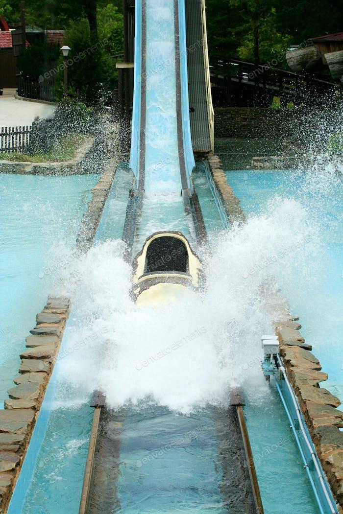 Log flume amusement park ride