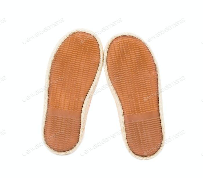 Baby girl orange fabric sneakers.