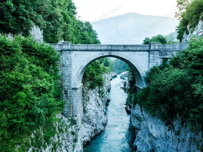 Napoleons Bridge over river Soca, Slovenia, aerial drone view