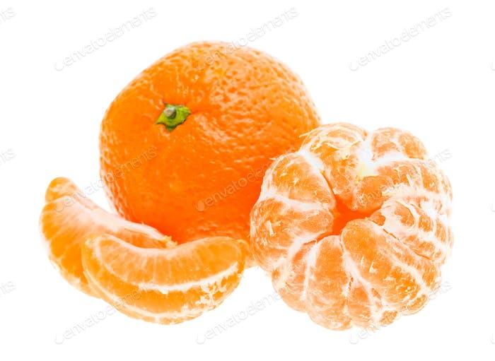 Geschälte Mandarine Mandarine Orange Fruit Isoliert Auf White Backgro