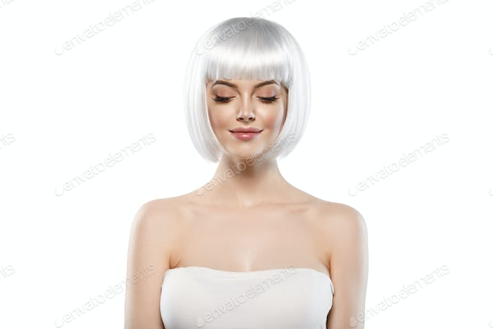 Blonde bob woman hairstyle, female beautiful model with blonde short hair.