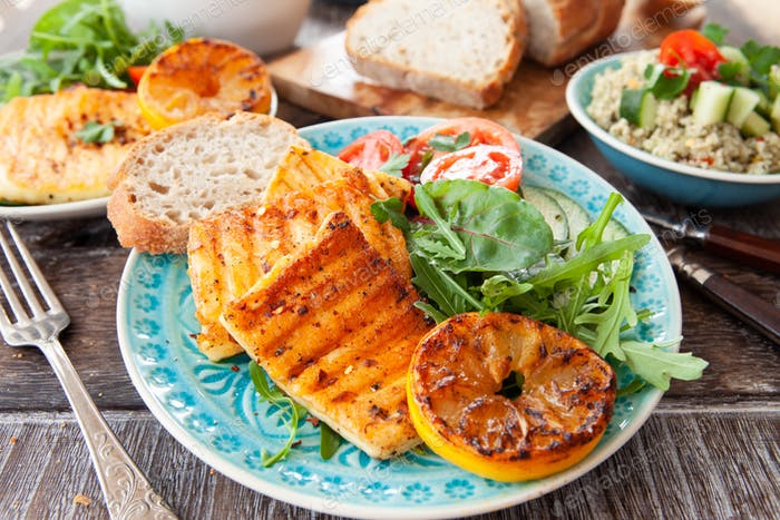 BBQ grilled cheese with fresh salad