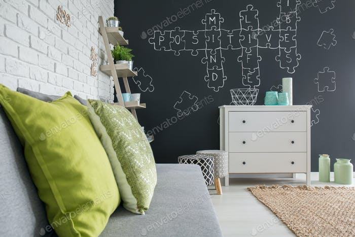 Living room with chalkboard decor