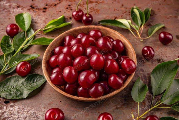 Delicious ripe sweet cherries