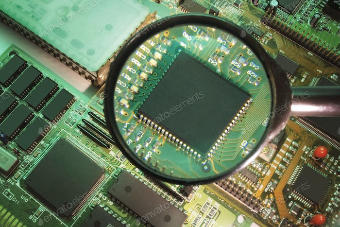 Magnifying Glass on Circuit Board