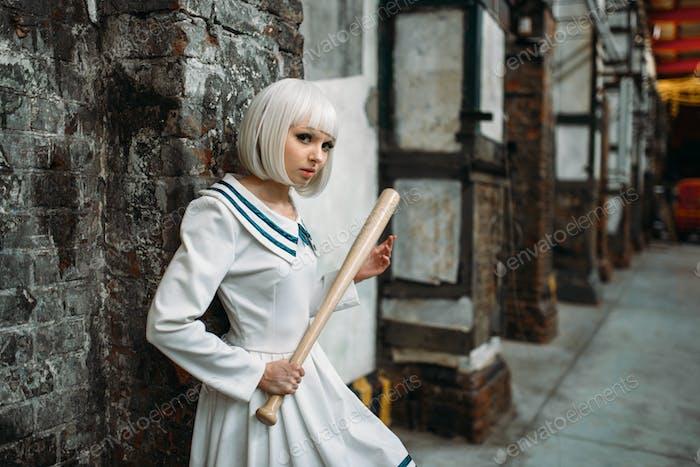 Anime style girl with baseball bat, lolita