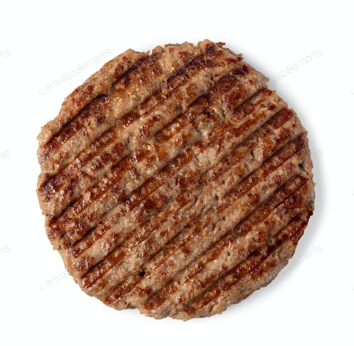 freshly grilled burger meat on white background