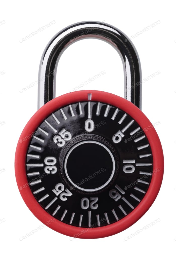 Red combination padlock