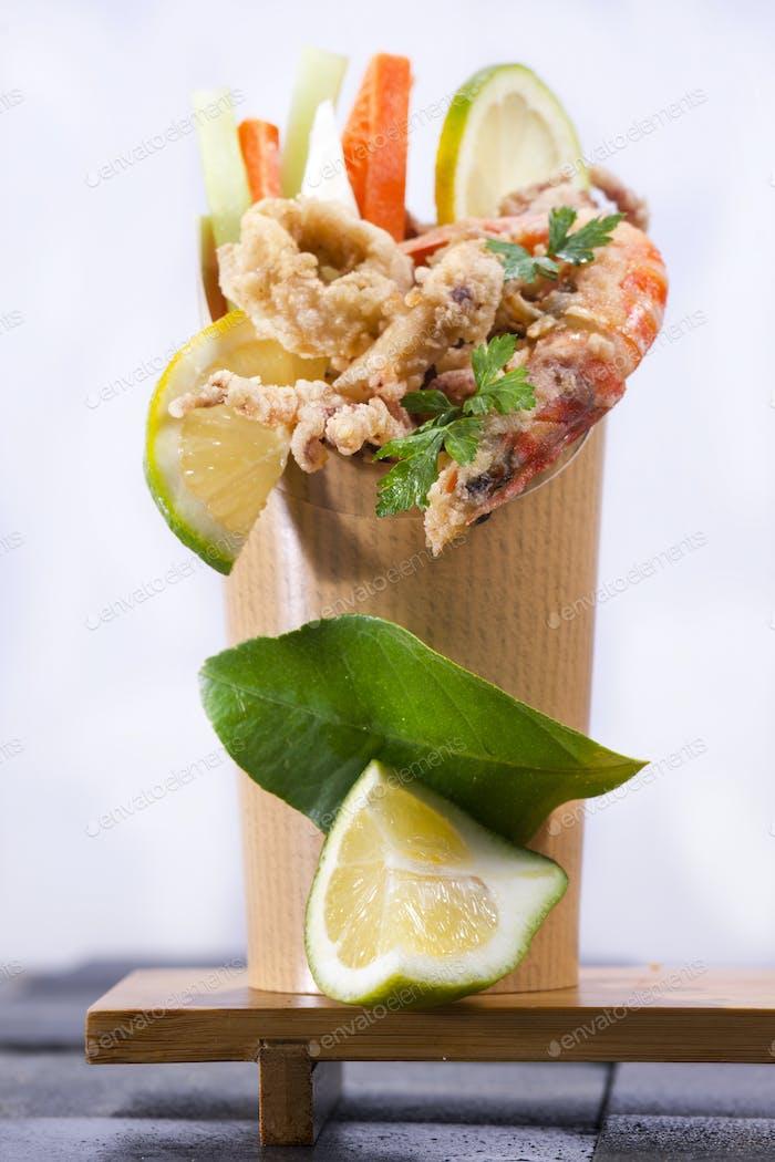 Fried sea presented in cone