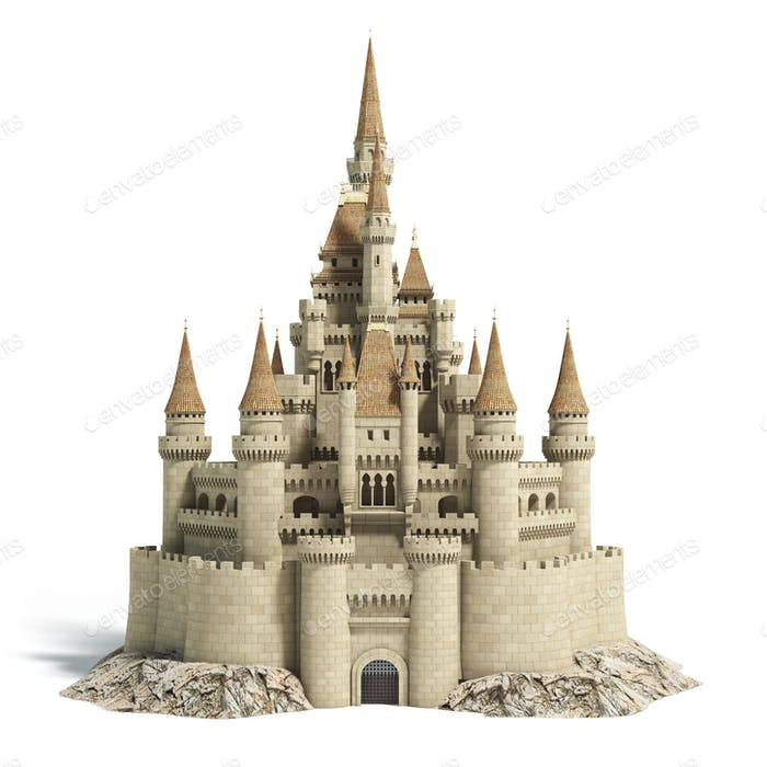 Old fairytale castle on the hill isolated on white.