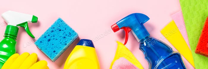 Cleaning product, household on pink top view