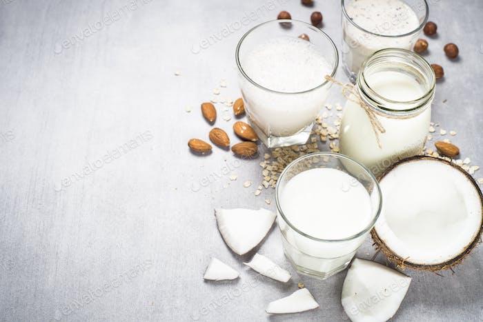 Vegan non dairy alternative milk.