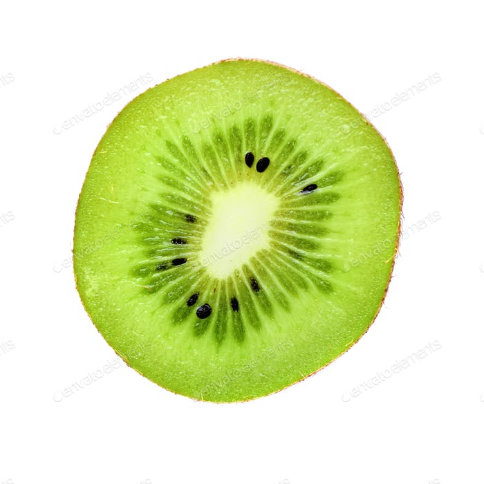 Slice of kiwi fruit isolated on white background. Top view