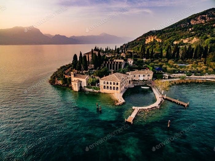 Aerial view of the city of Garda, Lake Garda, Verona, Italy.
