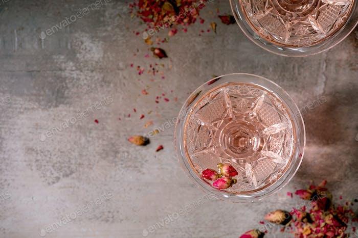 Pink rose champagne or lemonade