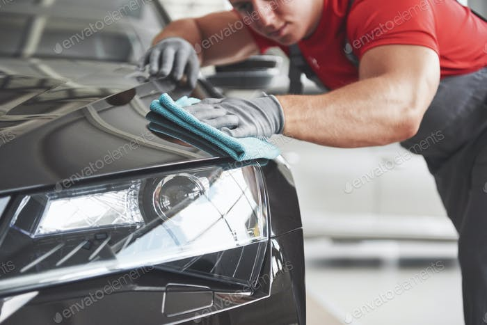 Professional cleaning and car wash in the car showroom