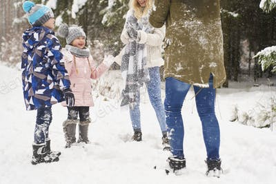 Family playing outdoors at winter