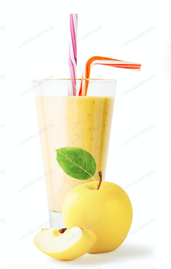 Glass of apple smoothie or yogurt with apple