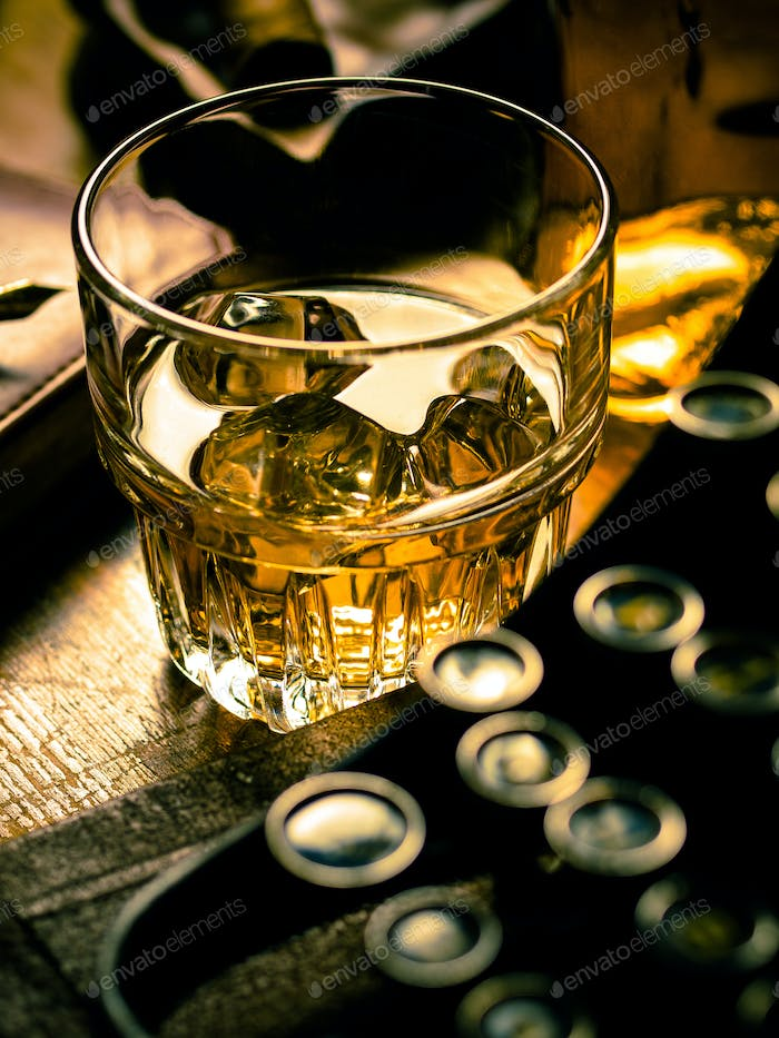 Writer's night with a glass of whiskey