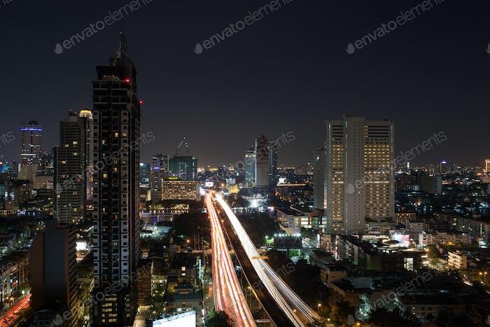 Night illuminated Bangkok, Thailand