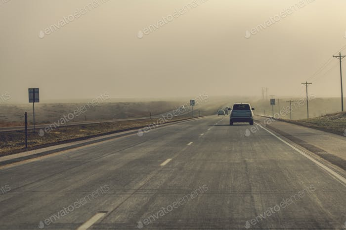 Fog Ahead Highway Driving